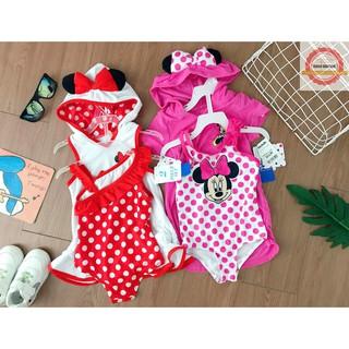 (Hàng xuất sang- xịn- mịn) Sét bơi áo choàng- bikini Mickey bé gái 1-5 tuổi (không đẹp hoàn hàng)