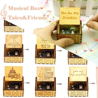 Music theme song Antique Wooden Hand Cranked Music Box Vintage Hand Cranked Cute Boxes You are My Sunshine Wooden Music Box thumbnail