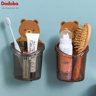 Cốc đựng bàn chải, kệ để bàn chải kem đánh răng cute hình gấu dán tường - Dodoba thumbnail