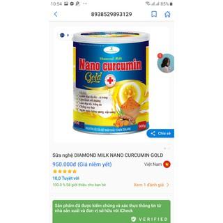 [Hộp 900 gam] SỮA NGHỆ NANO CURCUMIN Gold Diamond Milk ngừa loãng xương, giảm đau dạ dày-tá tràng, đẹp da
