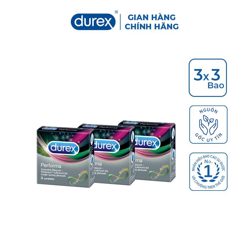 Bộ 3 hộp bao cao su Durex Performa 3 bao/hộp