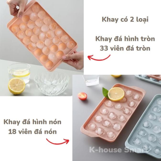 Khay đá tròn tủ lạnh 33 viên, khuôn làm đá có nắp đậy thông minh hình bi K-House Smart