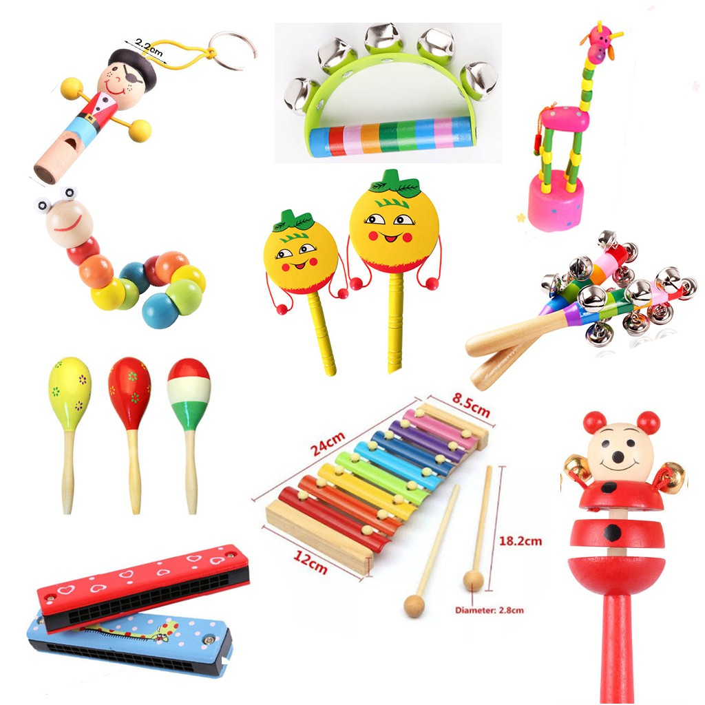 Đồ Chơi Xúc Sắc, Chuông, Lục Lạc, Trống, Còi, Đàn, Sâu, Hươu Gỗ Cho Bé Montessori, Nhạc Cụ Âm Nhạc