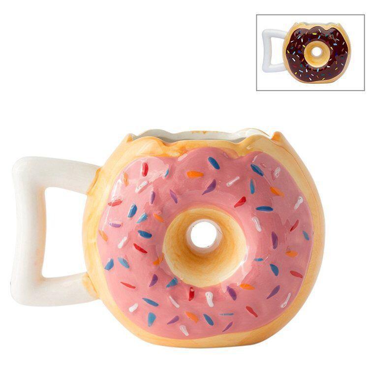 Ly Sứ Uống Nước Hình Bánh Donut Màu Hồng Nâu Xinh Xắn