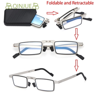 🍒QINJUE🍒 Fashion Blue Light Reading Glasses Portable Presbyopia Eyeglasses Foldable Reading Glasses Anti UV400 Women Men Anti Eyestrain Compact Readers Glasses with Case