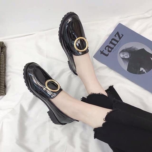 (Kèm ảnh thật) ORDER Giày bệt moca da bóng cao 3cm - 4 mẫu