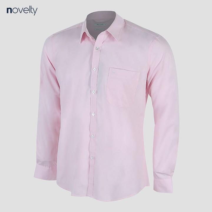 Áo sơ mi nam Novelty dài tay màu hồng nhạt NSMMMNMTCR191273D