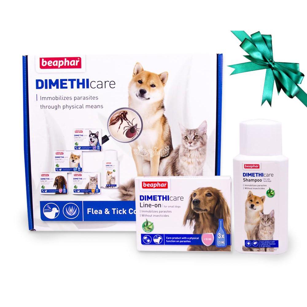 Special Boxset! Beaphar DIMETHIcare Cat บีฟาร์ ไดเมทรีแคร์ ชุดกำจัดเห็บ หมัด สำหรับสุนัข (พันธุ์เล็ก) (ยาหยดหลัง+แชมพู)