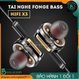 [Mã ELFLASH5 giảm 20K đơn 50K] Tai nghe thể thao Fonge X3, Chống ồn, Double BASS - Fullbox, Tặng hộp đựng carbon
