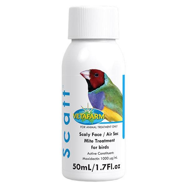 Vetafarm Scatt กำจัดไรนกและแมลงได้อย่างเห็นผล สำหรับนกทุกชนิด (50 ml)