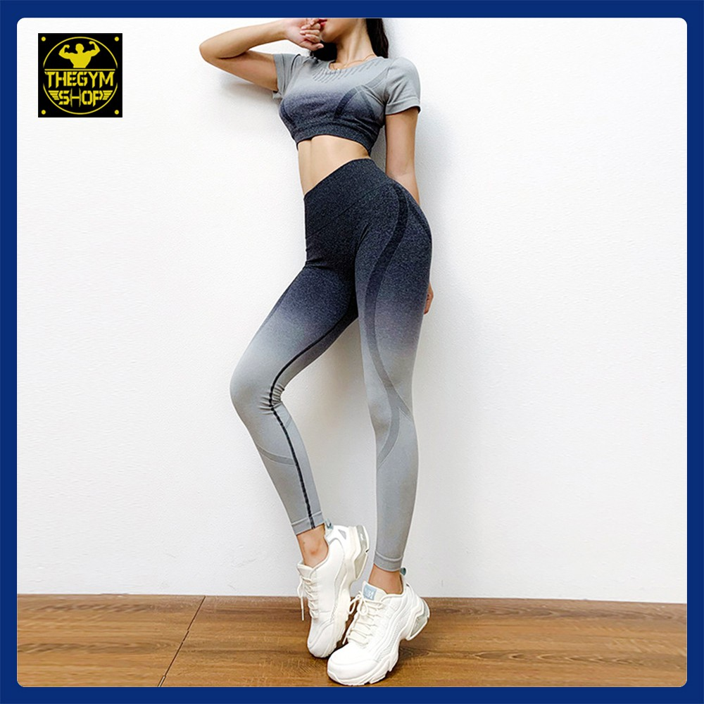 Bộ quần áo tập gym yoga thể thao nữ AMIN AM003 thông thoáng, co giãn, thoáng mát