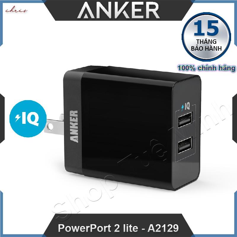 Sạc Anker 2 Cổng, 12w - PowerPort 2 Lite, 2 x IQ port - A2129 - Hàng phân phối chính hãng - 3063970 , 812141502 , 322_812141502 , 275000 , Sac-Anker-2-Cong-12w-PowerPort-2-Lite-2-x-IQ-port-A2129-Hang-phan-phoi-chinh-hang-322_812141502 , shopee.vn , Sạc Anker 2 Cổng, 12w - PowerPort 2 Lite, 2 x IQ port - A2129 - Hàng phân phối chính hãng