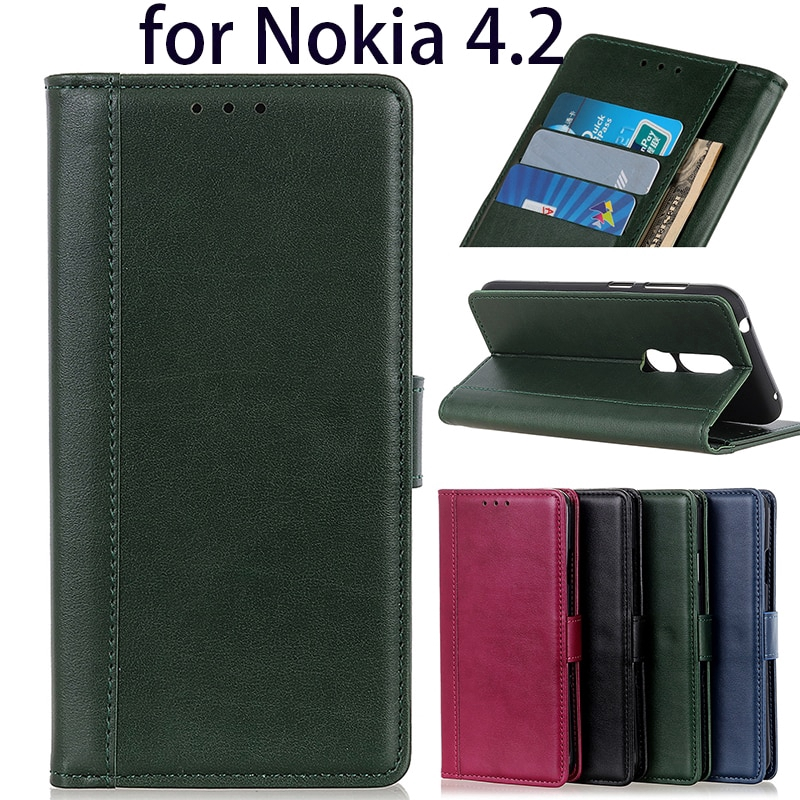 Nokia 4.2 glossy pure color pu Leather + tpu soft flip case phone stand cover