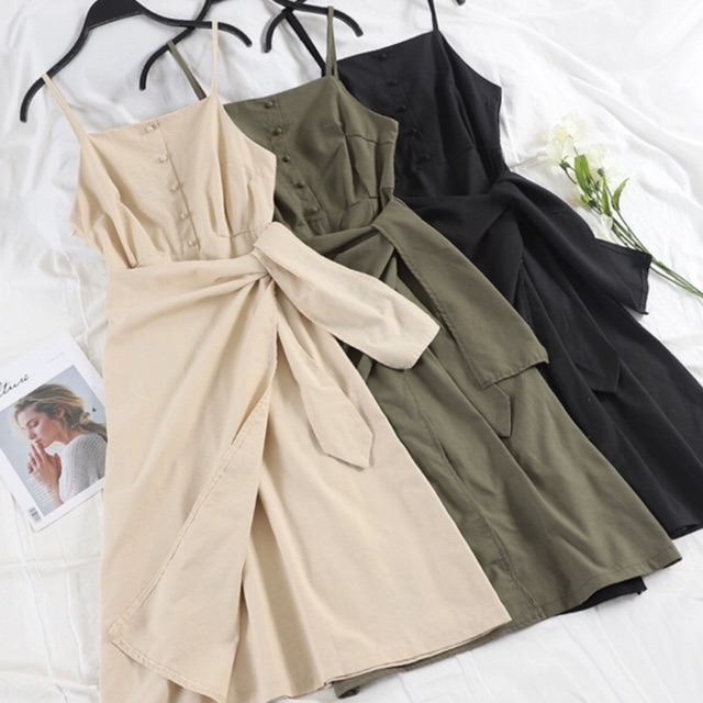 Váy 2 dây dài kiểu 5 hàng cúc chun eo cho nữ