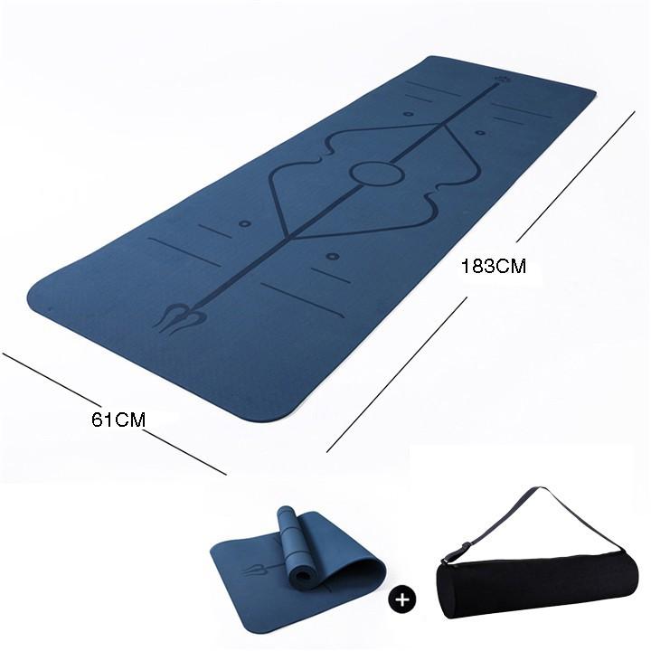 Thảm Tập Yoga Gym TPE 1 Lớp 9MM Định Tuyến Cao cấp Chống Trượt tặng túi đựng  HÀNG CHÍNH HÃNG 1 ĐỔI 1 BẢO HÀNH 12 THÁNG