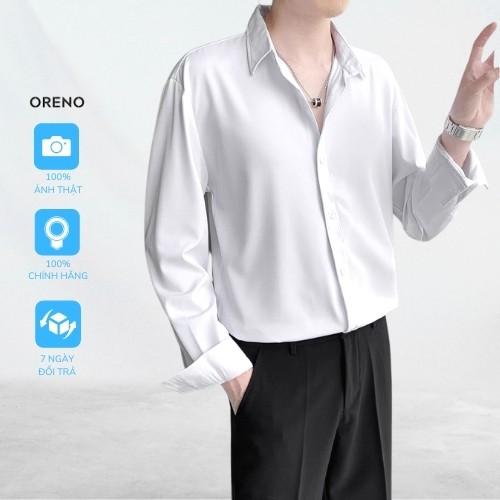 Áo sơ mi nam unisex Oreno trơn form rộng vừa vải lụa mềm mát Áo sơ mi dáng oversize phong cách hàn quốc giới trẻ