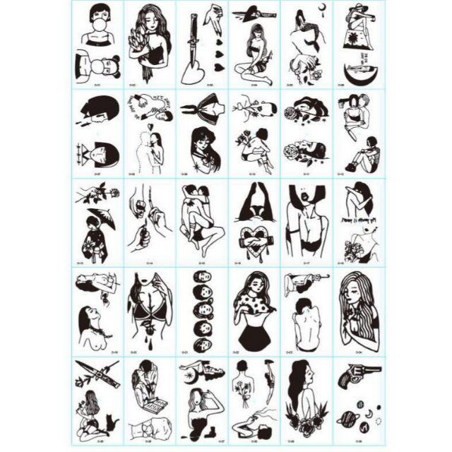 (Được chọn mẫu) Hình xăm nước hình xăm dán tatoo mini stickers đen trắng đẹp phong cách Hàn Quốc dễ thương cute giá rẻ