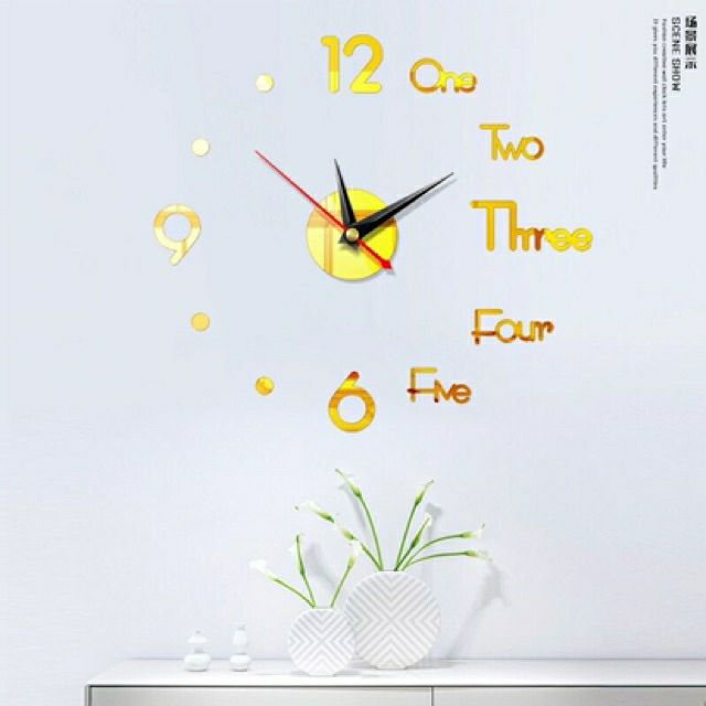 TẶNG PIN - bảo hành đổi mới miễn phí - Đồng hồ dán tường chữ số tiếng anh 40cm x 40cm - DH86