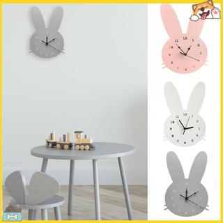Đồng hồ treo tường hình con thỏ bằng gỗ đáng yêu cho gia đình