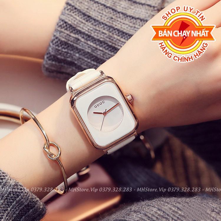 Đồng hồ nữ GUOU dây da cao cấp (Mã G6003S) 🎁 Tặng kèm vòng tay 🎁 Pin dự phòng