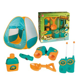 Pretend Play 7-Piece Camp Set with Tent for Kid Ages 3 and Up
