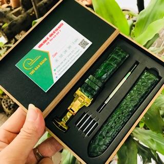 Dây da đồng hồ ♥️ FREE SHIP♥️ da cá sấu thật nhập khẩu, bảo hành 1 năm, full hộp gỗ, tặng kèm dụng cụ thay và chốt