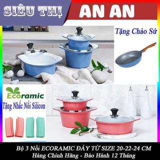 Bộ 3 nồi gốm sứ ECORAMIC bếp từ chống dính size 20 22 24 cm màu xanh tặng 2 nhắc nồi sillicon và chảo cạn đáy từ 20 cm