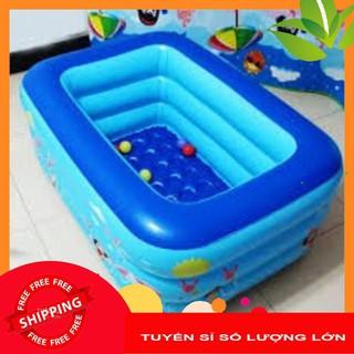 Bể phao bơi 3 tầng 1m5 kèm bơm bể có đáy chống trơn trượt (free ship-250k)