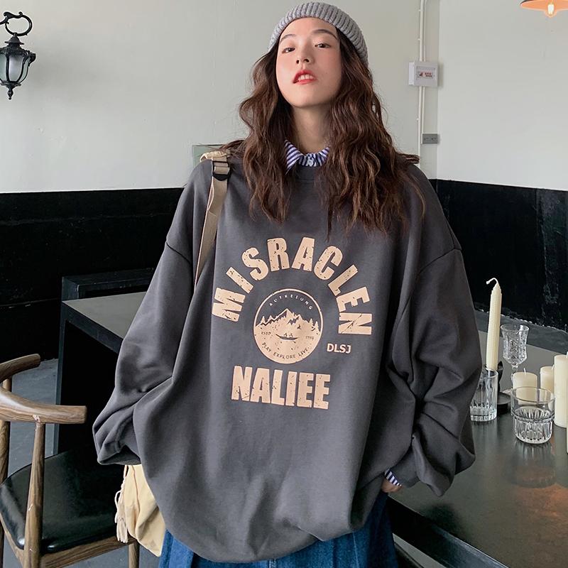 Áo Sweater Tay Dài Dáng Rộng In Chữ Phong Cách Hàn Quốc Dễ Thương C