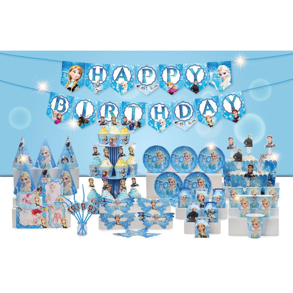 Set trang trí sinh nhật bé gái Bộ phụ kiện chủ đề công chúa Elsa | Shopee Việt Nam