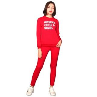 Bộ thể thao nữ thu đông da cá thương hiệu Vicci màu ( Đỏ, Đen) thumbnail