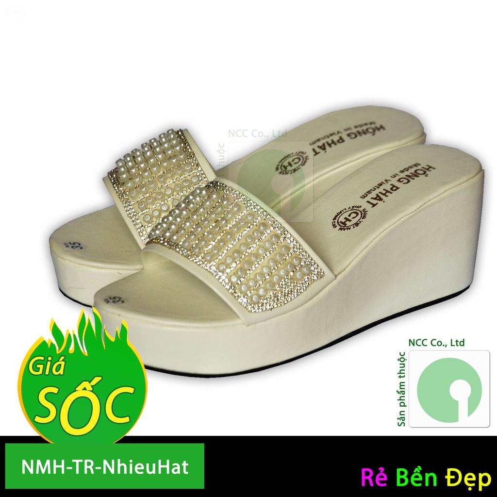 Giày dép đế xuồng giá rẻ quai ngang - NMH-TR-NhieuHat (Trắng)