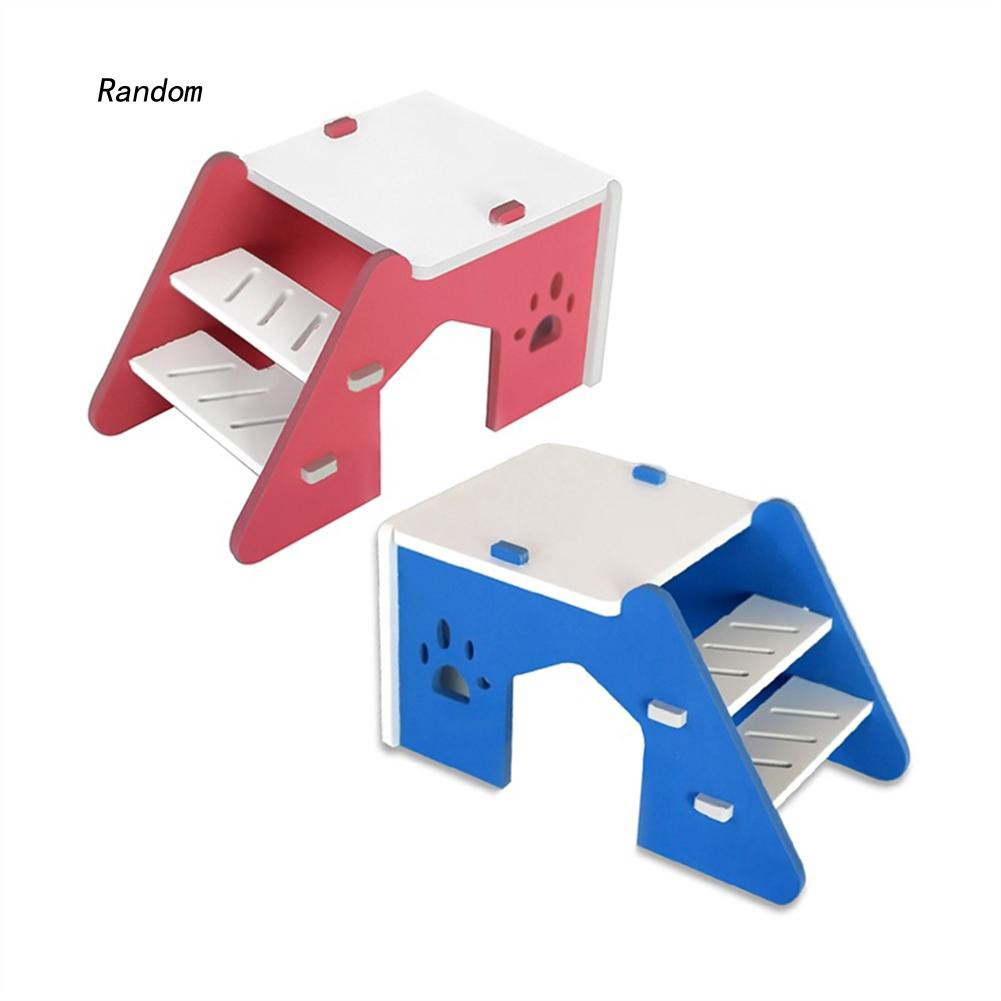 [RA]Hamster Hedgehog Small Pet House Wooden Stairs Play Sleeping Nest Cage Toy