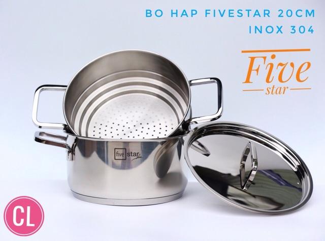 Bộ nồi xửng hấp Inox 3 đáy Fivestar 20cm( INOX 304) nắp inox dùng bếp từ