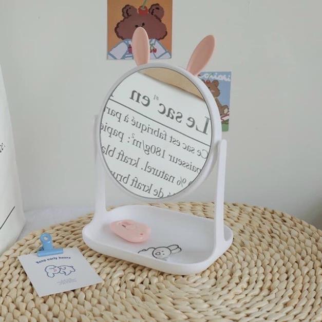 Gương công chúa tai mèo và tai thỏ để bàn xoay 360 độ, đế vuông, để bàn trang điểm