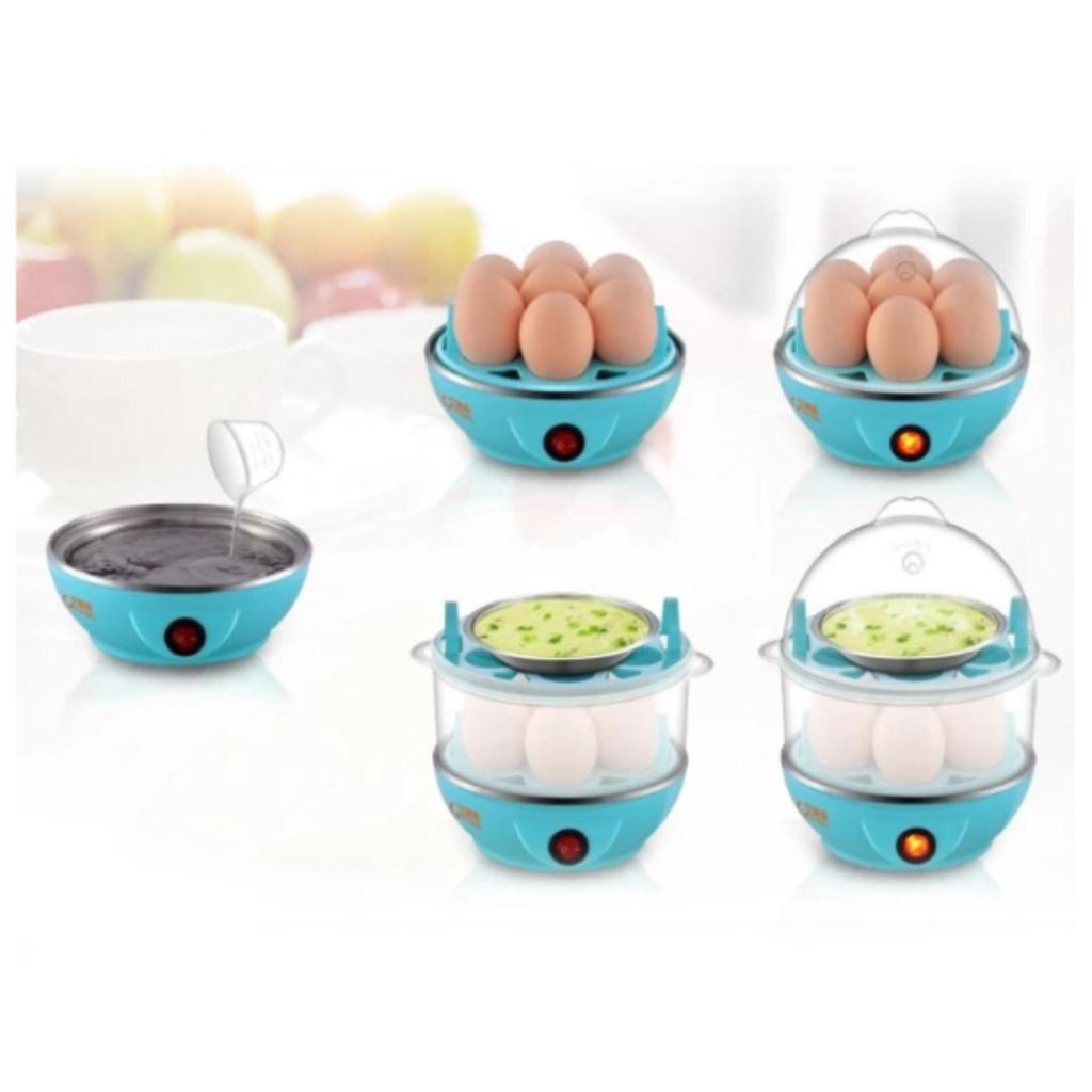 เครื่องใช้ไฟฟ้า Egg Boilers เครื่องต้มไข่ หม้อนึ่งอเนกประสงค์ 2 ชั้น (Blue)ครื่องใช้ไฟฟ้า Egg Boilers เครื่องต้มไข่ หม้อ