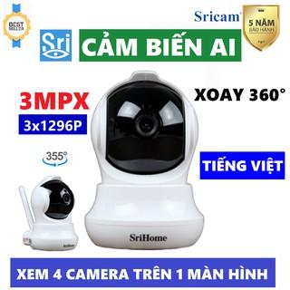 Camera 3.0 Mpx Srihome Sh020 Chuẩn 1296 Pixel - Xoay 360 - Cài đặt tiếng Việt - Bảo Hành Chính Hãng thumbnail