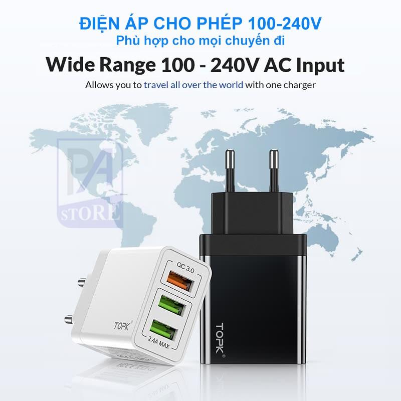 Củ Sạc Nhanh TOPK QC 3.0 (Quick Charge 3.0) - 3 Cổng USB - Tiêu Chuẩn Châu Âu