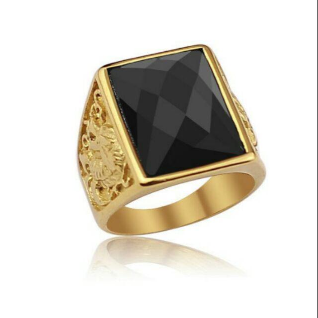 Nhẫn nam mặt đá đen korea