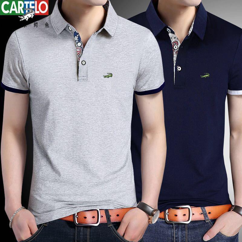 Áo thun tay ngắn cổ gập Polo màu trơn chất liệu cotton thời trang cho nam