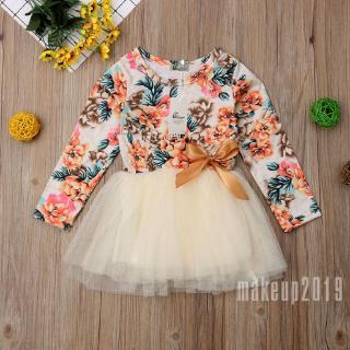 Mu♫-Baby Girl Kid Party Tutu Mesh Long Sleeve Floral Dress Wedding Birthday Princess Dresses