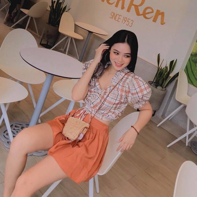 1626410792 - Set áo tay bồng vintage và chân váy