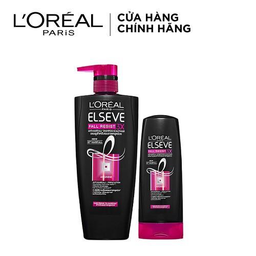 Bộ đôi gội xả L'Oreal Paris ngăn gãy rụng tóc (Elseve Fall Resist 3X Conditioner 325ml + Shampoo 650ml)