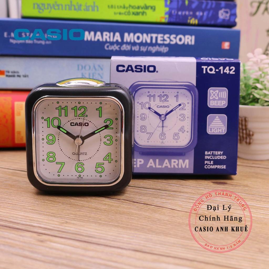 Đồng hồ để bàn Casio TQ-142-1DFcó báo thức, dạ quang ( 7.7×7.2×4.9 cm )