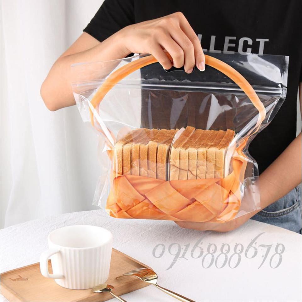 (50c | L | NHẠT) Túi zip hình Giỏ Hoa đựng Bánh Mì Sandwich