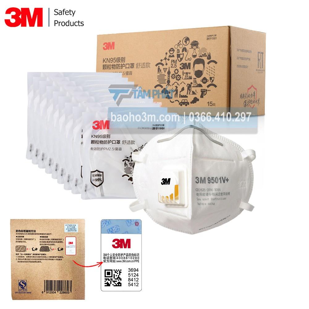[CHÍNH HÃNG] Lẻ 1 cái Khẩu trang 3M 9501V+ khẩu trang chống bụi PM2.5 khẩu trang kháng khuẩn cao cấp