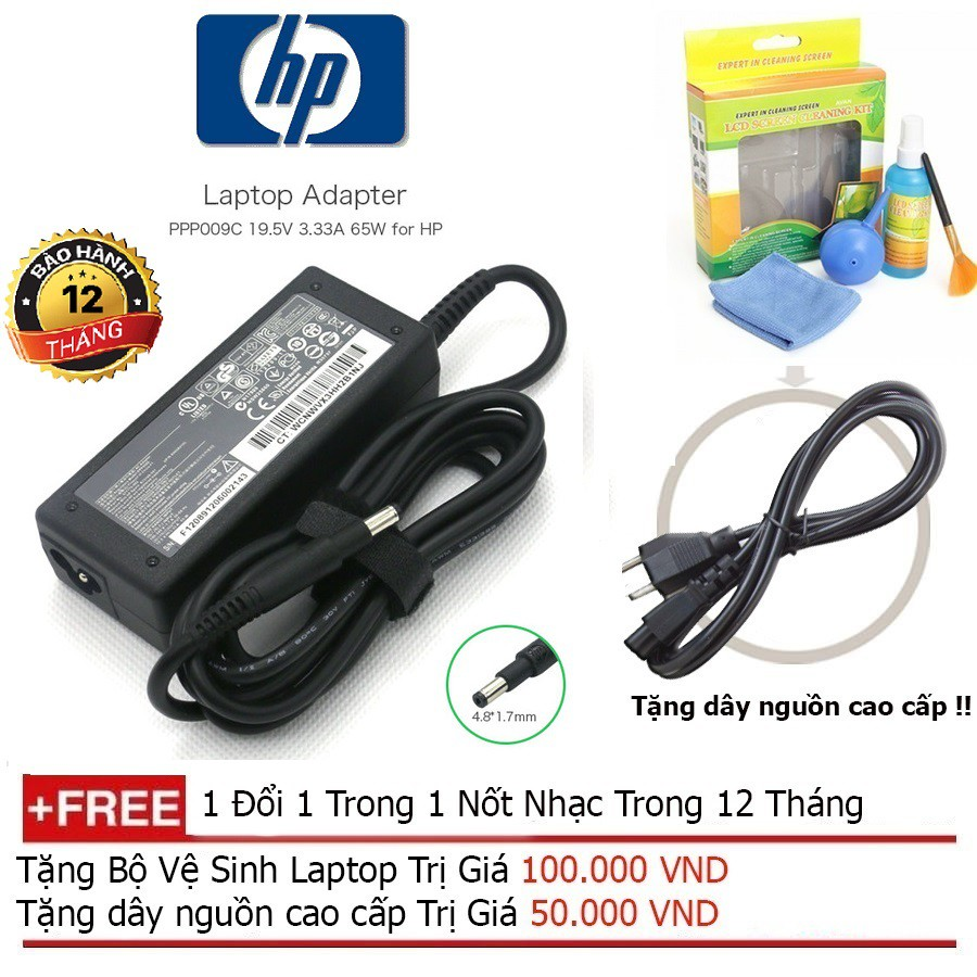 SẠC LAPTOP HP 19.5V-3.33A Chân khấc+ Tặng dây nguồn dài 1.8m, bộ vệ sinh laptop Giá chỉ 280.000₫