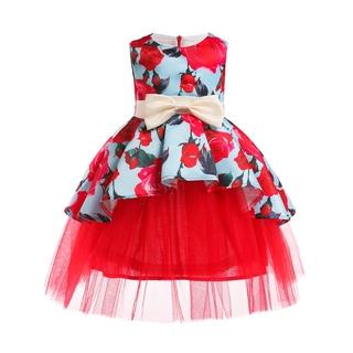 Đầm Xòe Công Chúa Đính Hoa Cho Bé Gái váy trẻ em váy cô gái thời trang trẻ em váy cưới mặc dự tiệc poly kids