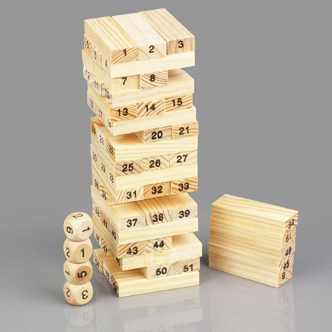 BỘ ĐỒ CHƠI RÚT GỖ WISS TOY (Gồm 54 thanh gỗ và 4 xúc xắc)