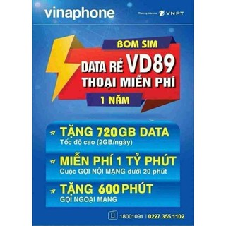 Bán Sim 4G Vina VD89 1 năm – Giá 499k/Sim – 720Gb/năm = 60Gb/tháng = 2Gb/ngày + gọi miễn phí